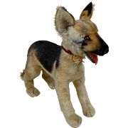 "1950's Large Standing Steiff ARCO German Shepherd Dog with Grommeted Chest Tag Germany 15"" Long"