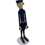 """1910's Steiff Long Tall Skinny Police Officer Cop Doll with Felt Uniform & Shoe Button Eyes 17"""""""