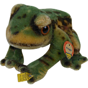1950's Large Steiff FROGGY Frog with Chest Tag, Raised Script Button & Yellow Stock Tag #3320.00