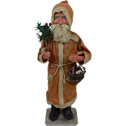 Large Turn of the Century Santa with Putz Toy Basket Christmas Candy Container Germany 16""
