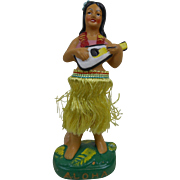 "1950's Paper Mache ""ALOHA"" Hula Girl Playing Ukulele Wiggler with Chenille Grass Skirt 7"""