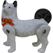 """19-teens Small Hertwig Jointed Bisque Dog Figurine White with Black Tail Germany 2"""""""