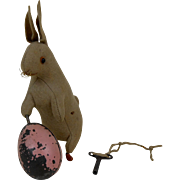 Rare 1900's BING Rabbit & Spinning Easter Egg Mechanical Toy with Key WORKS