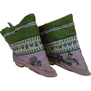 1800's Purple & Green Silk Chinese Bound Foot Booties Shoes with Butterflies & Flowers