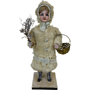 Rare Early Christmas Girl Candy Container with Bisque Head & Mohair Coat 12""