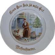 1912 German Christmas Plate with Long Coat Santa Delivering Toys by Tree