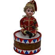 19teens Drummer Boy Candy Container with Bisque Head & Paper Mache Body
