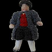 "1900's Carl Horn German Bisque Miniature Doll Man in Crochet Coat & Hat 1.5"""
