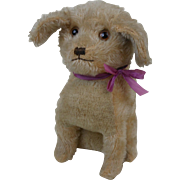 1920's Helvetic Musical Squeeze Dog with Purple Bow & Glass Eyes WORKS!