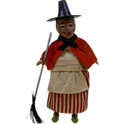 Victorian Halloween WITCH in Orange & Black with Broom Mechanical Toy