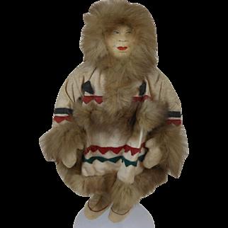 "1920's Russian Soviet Union Eskimo Soft Body Doll 13"""