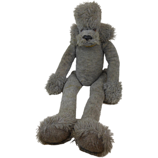 """1950's Rare Large Steiff Dangling Gray Poodle Dog with Ear Button & Glass Eyes Fully Jointed 34"""""""