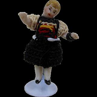 "1900's Carl Horn German Mini Bisque Doll Girl in Black & White Crochet Dress 1.5"""