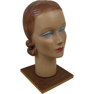 1930's Chalk Lady Mannequin Head Countertop Display with Molded Hair