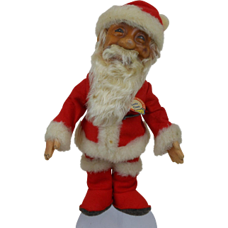 1950's Santa Claus Steiff Doll with Chest Tag, Yellow Stock Tag, Raised Script Button