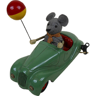 1950's Schuco Sonny 2005 Mechanical Car with Mouse Holding A Balloon US Zone Germany