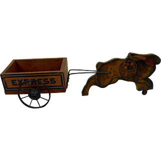 Early 1900's Litho Easter Bunny Rabbit Express Wagon Wood with Metal Wheels