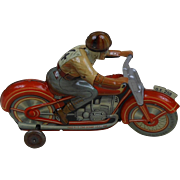 1940's Technofix Mechanical Tin Toy Motorcycle Racer US Zone Germany