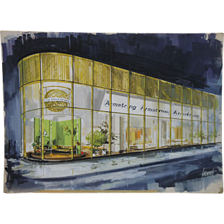 1960's Armstrong World Industries Artist Signed Painting of Showroom in Lancaster PA