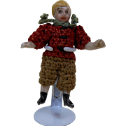 """1900's Carl Horn German Bisque Miniature Doll Boy in Crochet Outfit w Green Scarf 1.5"""""""