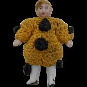 "1900's Carl Horn German Bisque Miniature Doll Clown in Yellow Crochet Jumper w Black Pom Poms 1.5"""