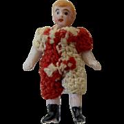 "1900's Carl Horn German Bisque Miniature Doll Clown in Red & White Crochet Jumper 1.5"""
