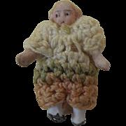 "1900's Carl Horn German Bisque Miniature Doll Girl in Cream Green Peach Crochet Jumper 1.25"""
