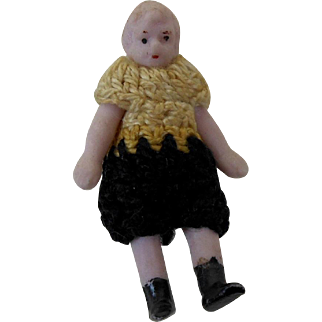 """1900's Carl Horn German Bisque Miniature Doll Boy in Black & White Crochet Outfit 1.5"""""""
