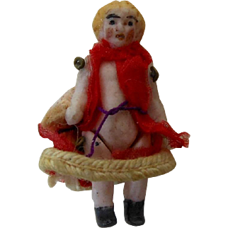 """1900's Carl Horn German Bisque Miniature Doll Girl in Red Dress 1.25"""""""