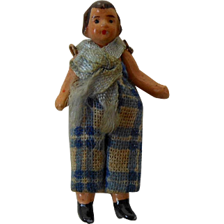 """1900's Carl Horn German Painted Bisque Doll Boy in Blue & White Plaid Linen Jumper 1.5"""""""