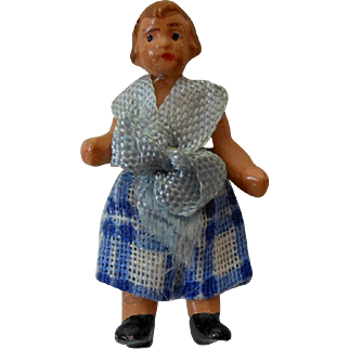 """1900's Carl Horn German Painted Bisque Doll Girl in Blue & White Plaid Linen Dress 1.25"""""""