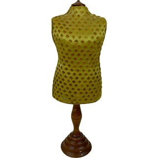 """1800s Counter Top Mannequin Dress Form Display Chartreuse Satin & Velvet with Wood Base 14"""""""