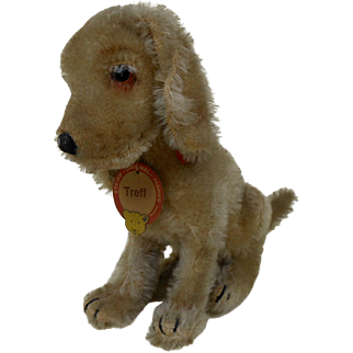1920s Steiff TREFF Dog with Full ID Chest Tag Ear Button Red Stock Tag