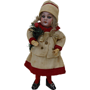 1910s Christmas Doll Candy Container Box Girl in Red & White Dress with Porcelain Head 8""