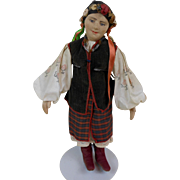Russia Ukrainian Woman Doll in Festive Traditional Outfit Molded Face