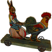 Early Easter Rabbit Riding Egg Being Pulled By Rooster Cart Pull Toy Germany