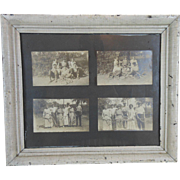Turn of the Century 4 Photographs with Tennis Players Black & White Photos in Frame