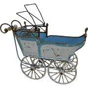 Antique 1890's Small Marklin Blue Tin Baby Doll Carriage