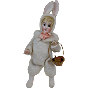 Large Victorian Walking Easter Rabbit Girl Mechanical Toy WORKS! 15""