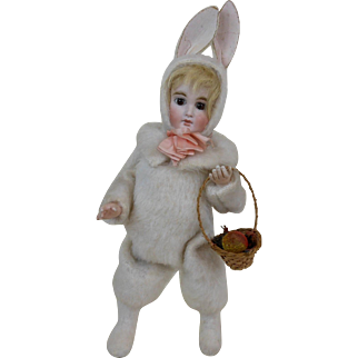 "Large Victorian Walking Easter Rabbit Girl Mechanical Toy WORKS! 15"""