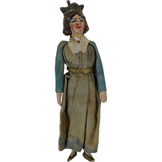 Early Paper Mache Queen Doll Christmas Ornament