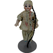 """Turn of the Century German Bisque Small Asian Doll in Silk Clothing Kestner or Halbig 3.5"""""""