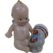 Kewpie Baby Doll with Blue Thanksgiving Turkey Porcelain Salt Shaker