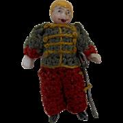 "1900's Carl Horn German Bisque Miniature Soldier Doll in Crochet Uniform with Sword 1.5"""
