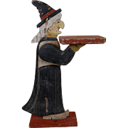 1930's Halloween Folk Art Witch Double Sided Wooden Figure Pedestal 24""