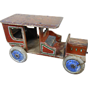 Large 1920s Folk Art Wooden Automobile Car with Papered Bench Seats 13""