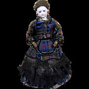 "Early French Fashion Doll with Original Silk Plaid Dress, Bisque Head, Braided Wig, Leather Body, Cobalt Eyes 13"""