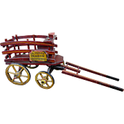 Turn of the Century St Claus Dealer In Good Things Red Wooden Santa Christmas Wagon