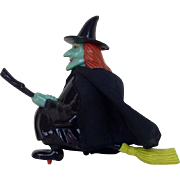 Late 1960's- Early 1970's Halloween Hard Plastic Flying Witch