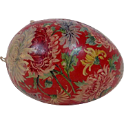 German Easter Egg with Chrysanthemum Design and Dresden Trim